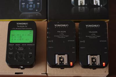 出永诺尼康相机用TTL引闪器YN622N-TX及YN622N,一套3只