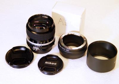 尼康手动定焦 AIS85 F2.0 送索尼E口转接环 送金属遮光罩
