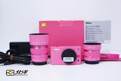 99新 粉色尼康  J1 双镜头套机 包装齐全(BG09130004)