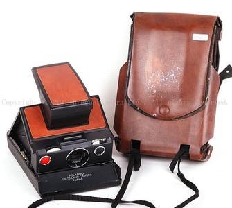 宝丽莱 SX-70 land camera alpha 黑色橙皮波拉机 带皮套  #jp14324