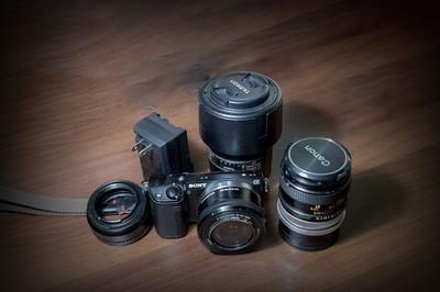 索尼sex-5r标配镜头加佳能50f1.4手动fd镜头