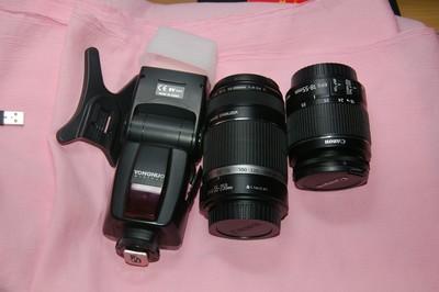 佳能18-55mm 55-250mm 镜头 佳能口永诺467闪光灯