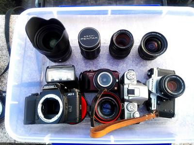 灭门出M42口和尼康口的蔡司镜头、宾得胶片机、松下GF5