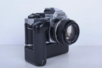 95新二手Nikon尼康 FM2 套(50/1.4)钛帘带手柄(B4332)【京】