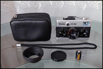 Rollei 35SE,带原厂皮套、相机手带、遮光罩、电池