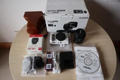 EOS M3 95新 日亚行货已改中文 ,带EVFDC1,可配18-55镜头