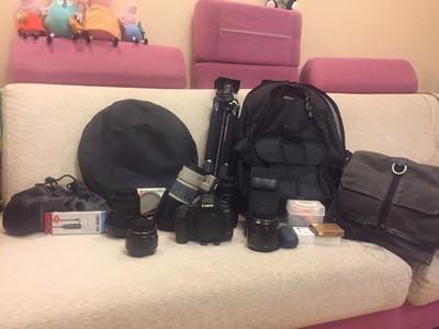 95新Canon佳能 5D Mark II和5只镜头摄影包三脚架等全套设备