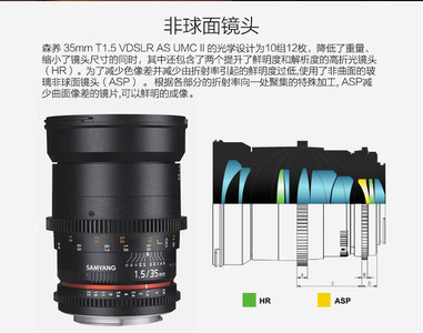 三阳 35mm T1.5 电影镜头(佳能口)