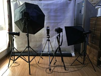 LED摄影灯送八角灯罩、弹簧灯架、背景架背景布、儿童服装及道具
