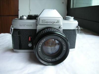 很新少见海鸥DF102B金属制造机械快门相机带58mmf2镜头,有把手