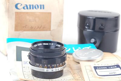 佳能 35/2 L Leica LTM螺口 黑色全套包装 #jp19714