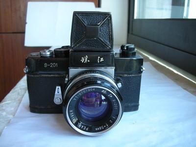 较新珠江S201金属制造单反相机带58mmf2镜头,配俯视取景器