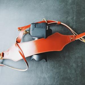 原创手工牛皮单反减压带快拍背带