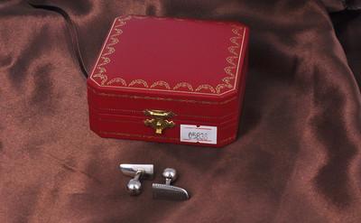 【99新】卡地亚Cartier 纯银镀钯饰面袖口纽一对#05838