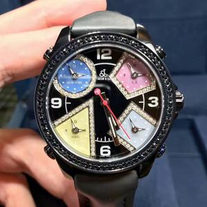 【全新】捷克豹JCM-75DABC五地时拼色镶钻表盘腕表#Jacob&Co55