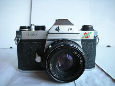 很新珠江白色S207金属制造单反相机带50mmf2镜头,收藏使用