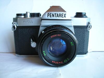 很新珠江宾得K1000单反相机,带50mmf1.7MC多膜镜头,收藏上品
