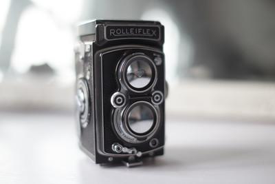 闲置禄来中画幅双反 Rolleiflex MX 胶片相机 带皮套