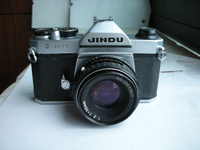 较新白色金都S207T机械快门单反相机带50mmf2镜头,收藏精品