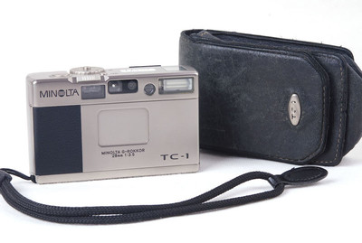 【美品】美能达TC-1 28/3.5香槟色胶片相机带手绳皮套jp20599