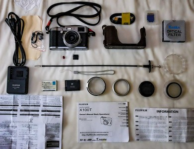 富士 x100t 旁轴相机,配件多多