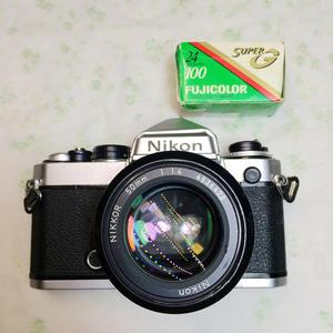 NIKON/尼康 FE 套机50mm F1.4 135胶片机单反相机钛帘专业易于FM2