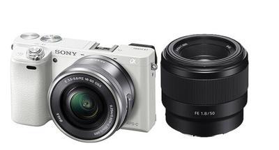 ILCE-6000L/a6000 白色双头套机(16-50+FE50F1.8mm)