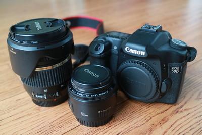 佳能 50D+双镜头+原厂320EX闪光灯+双CF卡+双电+包