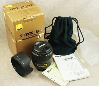 包顺丰 98新 尼康 AF-S 35/1.4 G 广角 带包装 遮光罩 实物拍摄