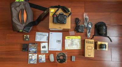 尼康 D90+18105+501.8d,送闪光灯、相机包、品胜充电器