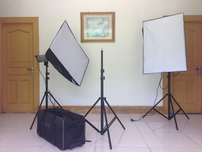 METTLE 美图 600c影棚柔光箱灯闪光灯 三灯套装
